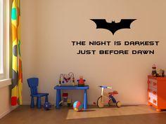 Vinyl decal quote Batman quote the night is darkest by vinylmagic, $12.99