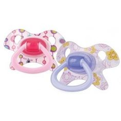 Chic Orthodontic Soothers (2 Pack) 0 - 6 months - Pink/Purple  Brand: Nuby Natural Touch #NubyBaby