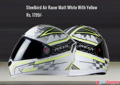 #Helmet Steelbird Air Racer Matt White With Yellow #Bikers #Riderssafety Order now from www.yooshopper.com,http://bit.ly/2i6NSvU