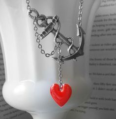 Anchor Necklace Nautical Jewelry Red Heart Navy