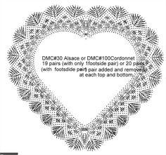 Downloads_1 - Blanca Torres - Picasa Albums Web Bobbin Lace Patterns, Crochet Patterns, Crochet Doilies, Crochet Lace, Knitted Heart Pattern, Bobbin Lacemaking, Lace Heart, Victorian Lace, Crochet Diagram
