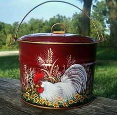 grrreat HP tin berry pail with rooster and daisies and wheat by Trish!!!