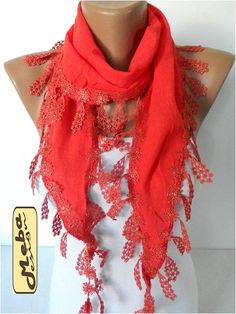 Red scarf women scarves  guipure gift Ideas For Her by MebaDesign