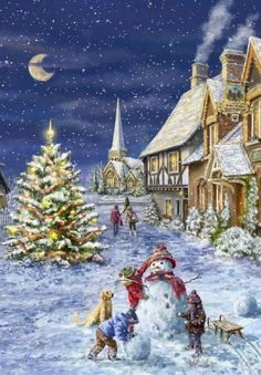 Leading Illustration & Publishing Agency based in London, New York & Marbella. Christmas Scenery, Magical Christmas, Christmas Villages, Very Merry Christmas, Christmas Past, Cozy Christmas, Christmas Pictures, Beautiful Christmas, Illustration Noel