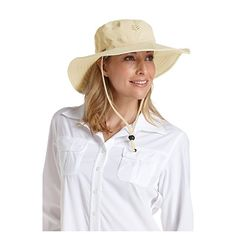 259ae86576c Coolibar Women s Wide Brim Sun Catcher Hat - UPF50+ Sun Protection (Stone)   Amazon.co.uk  Clothing