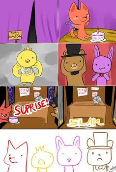 5NAF: :C by miaokep on deviantART Uh? If I saw Foxy with a cake I would leave the door open?