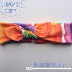 Organic Rainbow Knot Headband.  Knot by ChamomileAndRoses on Etsy
