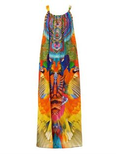 This multi-coloured parrot-print sleeveless silk dress has an open-neck, an embellished centre-front and shoulder straps with a centre-back self-fastening bow.