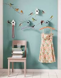 I love the bird houses and the painted birds.not so sure about the hanger idea but the 'look' certainly works! Bird Wall Decals, Bird Wall Art, Removable Wall Decals, Wall Stickers, Wallpaper Manufacturers, Brewster Wallpaper, Old Room, Cool Posters, Peel And Stick Wallpaper