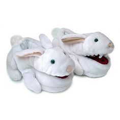 Monty Python Killer Rabbit Slippers    Each pair is one size fits most, and features flapping mouth action (when you walk, the mouth flaps). Just think, for each pair you buy, two real Killer Rabbits are spared malleting (and Tim gets to drink one more Mai Tai). Killer Rabbit slippers fit up to a Men's Size 12 (US sizes).    $39.99