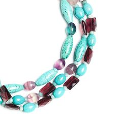 """Love this! Found it on Lily's Boutique  Long a symbol of wealth, turquoise brings protection and luck to its wearer. Step out gloriously with this stunning triple strand necklace of turquoise and African amber.  - Turquoise, African amber, sterling silver  - 20"""" length, J hook clasp"""