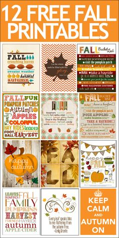 12 FREE Fall Printables. Cheap and easy way to get your house ready for the…