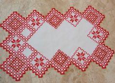 Toalha de mesa com bordado em hardange.  ♥ Peça Única  * Veja outros modelo no Álbum de Produtos - TOALHA DE MESA R$ 45,00
