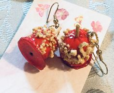Sweet and juicy candy apple earrings created by sweet juicy in polymer clay Cartoon Cow, Drink Signs, Candy Apples, Pjs, Polymer Clay, Sweet, Earrings, Ebay, Jewelry
