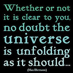 Whether or not it is clear to you, no doubt the universe is unfolding as it should...