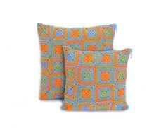 Eco friendly Crochet Cushion Pillow Covers set , two crochet cushions, throw pillows crochet, cotton pillows home decor, orange blue green