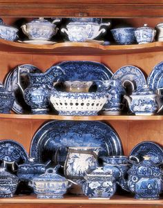 Dark blue historical transferware  Antiques - Transforming a Barn into a Home with Antiques - Country Living