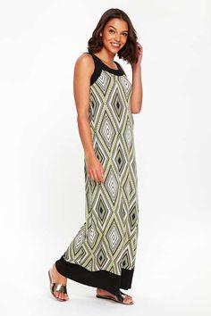 Petite Lime Diamond Print Maxi Dress