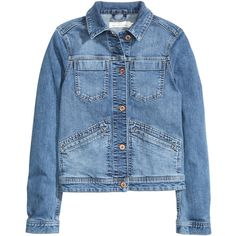 Denim Jacket $39.99 ($40) ❤ liked on Polyvore featuring outerwear, jackets, h&m, blue jean jacket, fitted jean jacket, jean jacket, fitted denim jacket and denim jackets