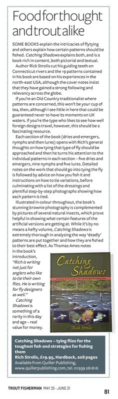 Trout Fisherman magazine reviewed Catching Shadows by Rich Stolis