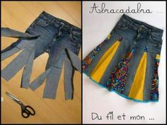 You'll love to make this Upcycled Denim Jeans Skirt and you can make it in a variety of styles and fabrics. Check out the Upside Down Upcycled Denim Jeans Dress too! Diy Clothing, Sewing Clothes, Sewing Jeans, Skirt Sewing, Clothes Refashion, Sweater Refashion, Recycled Clothing, Diy Fashion, Ideias Fashion