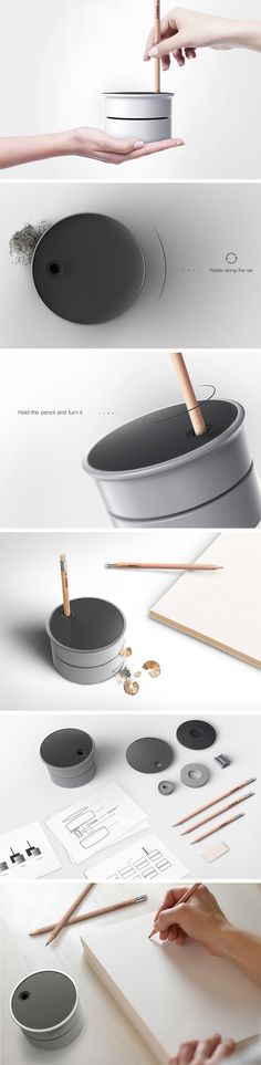 Despite its minimalistic looks, the Millstone sharpener is actually inspired by and pays homage to an age-old food preparation technique by the same name. Millstone, which would normally refer to two circular stones used for grinding grain, is used in much the same way. Simply insert the end of your pencil to the single hole on top and twist to sharpen.