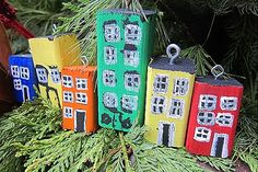 Crafting with my Kids: Jellybean Row Ornaments Holiday Crafts, Home Crafts, Holiday Decor, House Ornaments, Christmas Ornaments, Newfoundland, Jelly Beans, Trip Planning, The Row
