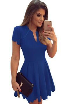 Blue Sweet Scallop Pleated Skater Fit and Flare Dress https://www.modeshe.com