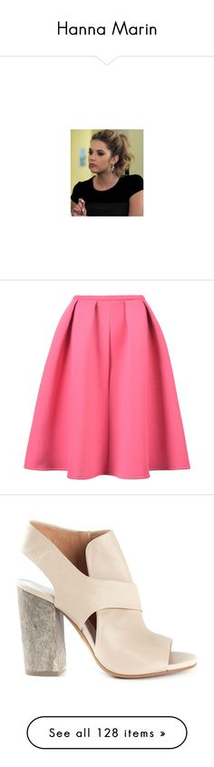 """Hanna Marin"" by teenvogue-magazine ❤ liked on Polyvore featuring skirts, bottoms, gonne, pink, pink circle skirt, flared skirt, midi skater skirt, circle skirt, midi skirt and shoes"