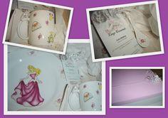 Set para nenas - Pintura sobre porcelana