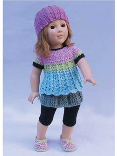 Simple Basic Wardrobe for 18-Inch Dolls. From 1 simple basic dress pattern you can create an endless, amazing wardrobe by just changing the length, color, edging or sleeves. Then add the accessories, which are also basic patterns that can be changed to give entirely different looks. Order: https://www.anniescatalog.com/detail.html?prod_id=122137&cat_id=24.