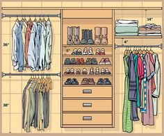 Master Closet layout - but make shelves for folded clothes instead of shoes. Keep Active shoes low, keeping dirty soles away from clean clothes