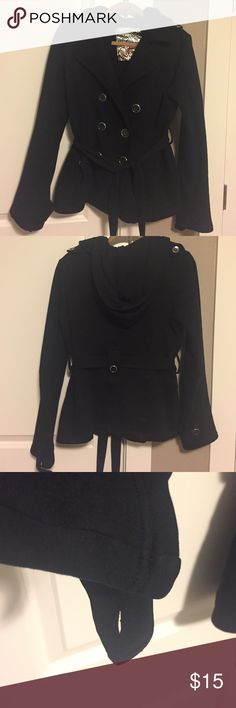 Fleece Double Breasted Peacoat Well loved but amazing fall/winter coat. Super warm and extremely comfortable, with great button details and tie-waist. Missing one button the wrist strap. Size says large, but it is closer to a medium. Jackets & Coats Pea Coats
