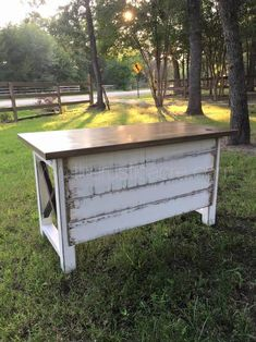 The Rustic Acre custom built farmhouse style desk, with white distressed details and shiplap front. Built in College Station, TX