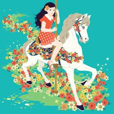 Carousel like a girl childhood dream riding through a cloud of flowers