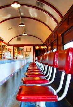 This is the diner car on the train that is also a museum at the Spokane County Fair, Washington.