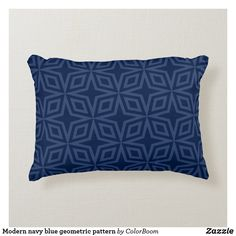 Modern navy blue geometric pattern accent pillow Navy Blue Cushions, Navy Blue Throw Pillows, Soft Pillows, Accent Pillows, Decorative Pillows, Navy Blue Bedrooms, Blue Living Room Decor, Blue Home Decor, Living Room Cushions