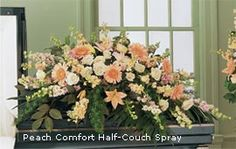 Funeral Flowers Casket Spray Peach Comfort