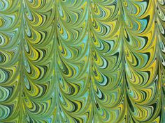 Handmarbled paper Blue Green Yellow Blue by LosingHerMarbles, $8.00