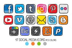 VECTOR - Guache Social Media Icons from Side Project on Creative Market Source by Web Banner Design, Business Illustration, Pencil Illustration, Business Brochure, Business Card Logo, Formation Photo, Most Popular Social Media, Best Icons, Social Icons