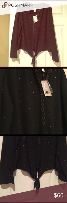 ⭐️NEW Chico's Beaded Party Blouse NWT - Chico's size 3 (Similar fit as XL). Bust: 42 & Waist: 37. Black base color with bold gold beaded details. V-cut neckline with bedazzled gold details down the neckline and all around the neck. The bottom has a cute tie detail. ➡️➡️➡️ I am willing to negotiate on the price, so make me an offer! 😊 10% off bundles of three. ⭐️No Trades⭐️ Chico's Tops Blouses