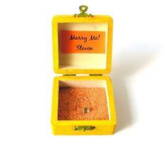 Wood Box Marry Me Custom Gift Handpainted Trunk by LovingCorner, $22.50