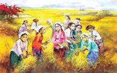 Hasil gambar untuk lukisan panen padi ukuran besar