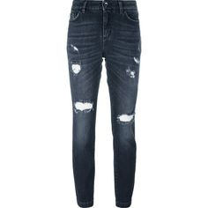 Dolce & Gabbana distressed jeans (1.345 BRL) ❤ liked on Polyvore featuring jeans, grey, destructed skinny jeans, ripped skinny jeans, destructed jeans, gray skinny jeans and gray jeans