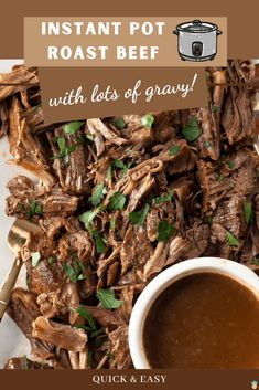 Instant Pot Roast Beef and Lots of Gravy is a quick and easy dinner recipe that creates a tender, delicious roast with plenty of gravy to top a side of mashed potatoes.