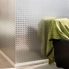 Diamond Plate 4\u0027 x 8\u0027 PVC Backsplash Panel in Brushed Aluminum & Chrome Diamond Plate Plastic Sheet 24\