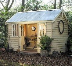 Turn an outdoor, storage shed into a reading room, craft room, play room, she shed…. Outdoor Rooms, Outdoor Living, Outdoor Retreat, Laurel Hedge, Craft Shed, She Sheds, Garden Buildings, Patio, Shed Storage