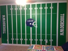 Football Field in a little boys room. Any sports fanatic would love this! Painted and designed by www.scottsdalemurals.com or visit us on FB at http:/www.facebook.com/kidmuralsbydanarailey