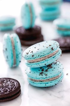 pretty teal macarons