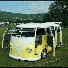 "doyoulikevintage: ""Yellow VW Bus suicide doors split window """